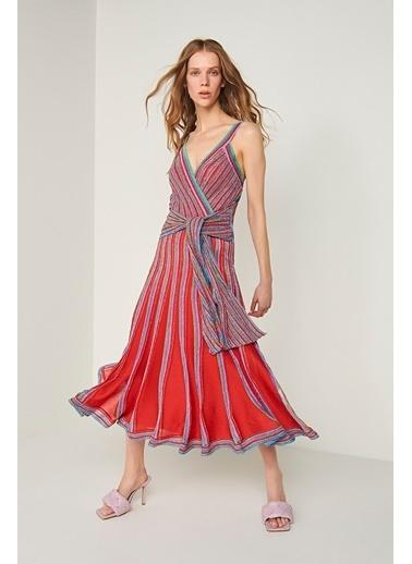 Join Us Askılı Beli Bağlama Detaylı Simli Triko Elbise Renkli